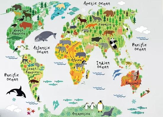 تزيين جدار غرفة الاطفال بخريطة العالم