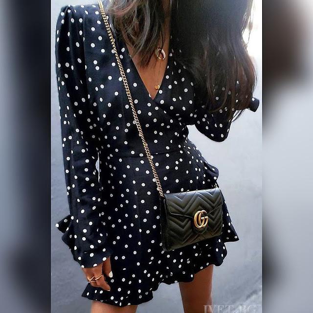 Μακρυμάνικο κοντό μαύρο με άσπρο φόρεμα JONA