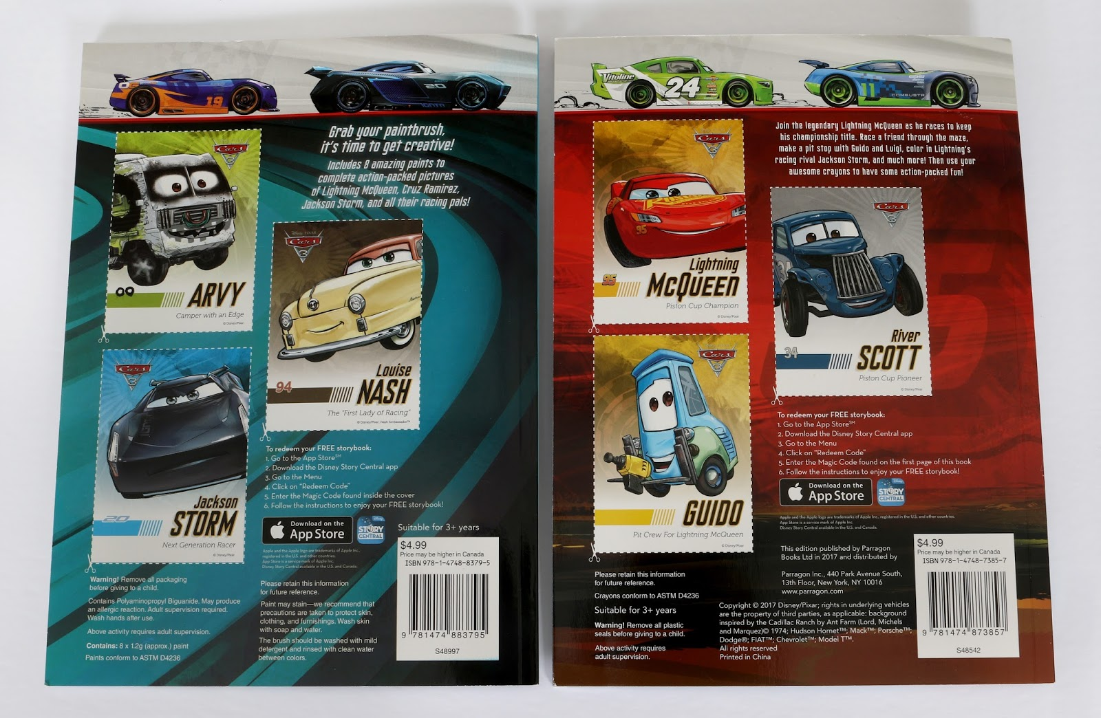 pixar cars 3 color activity books