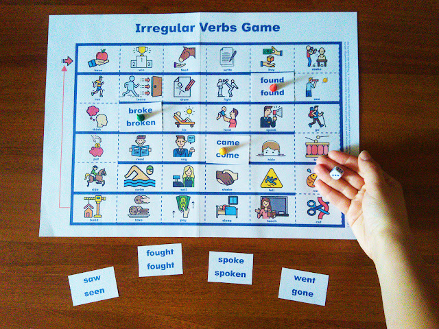 Printable irregular verbs game for English learners - dice game for ESL and EFL students