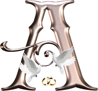 Abecedario para Bodas con Palomas y Argollas. Wedding Alphabet with Doves and Wedding Rings.