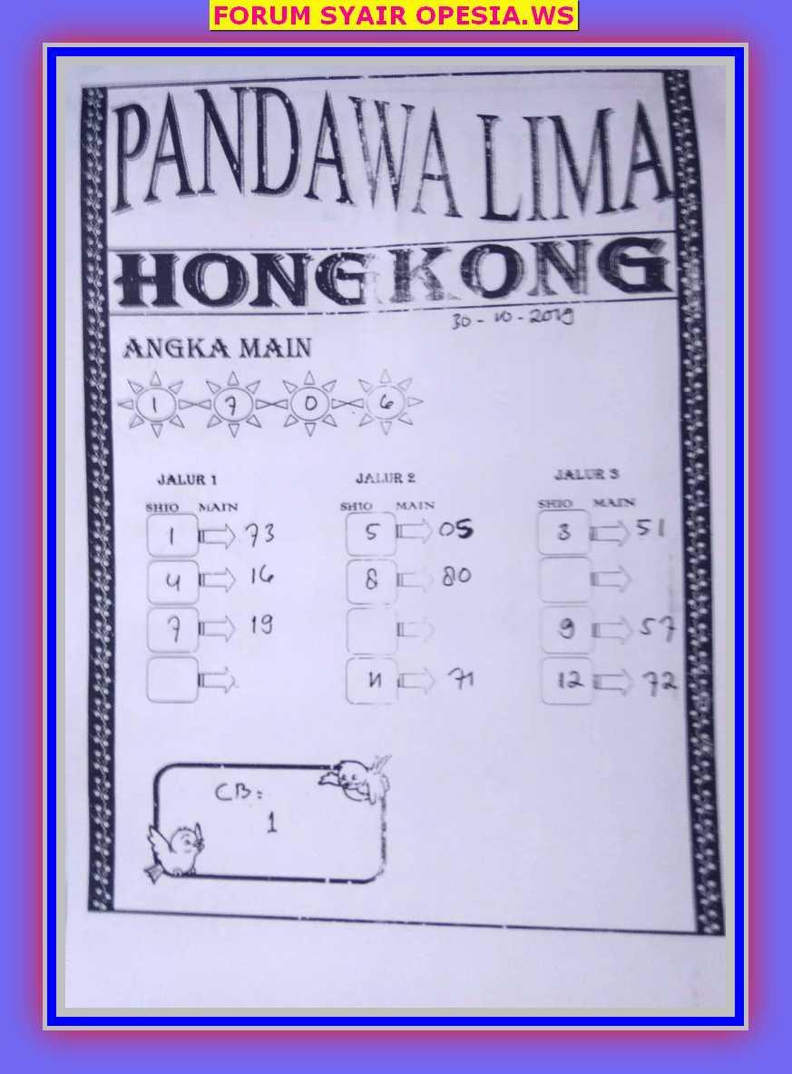Kode syair Hongkong Rabu 30 Oktober 2019 17