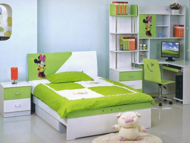 interior kamar tidur minimalis hijau