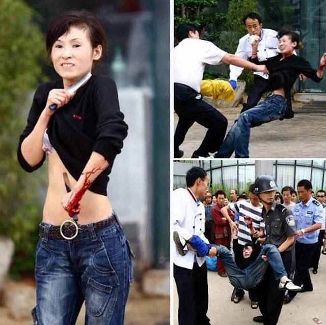 Os altos índices de suicídio feminino estão ligados aos abortos forçados. Mulher tenta se suicidar em Kunming.