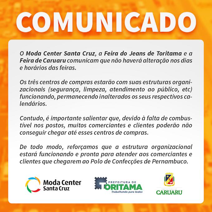 Comunicado conjunto do Moda Center, Prefeitura de Toritama e Prefeitura de Caruaru