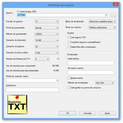 DominioTXT - 7-Zip Tela de Compressão
