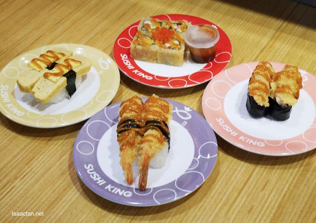 Aburi Curry Tamago, Curry Tori Katsu Gunkan, Currfornia Roll, and Curry Ebi Fry Nigiri