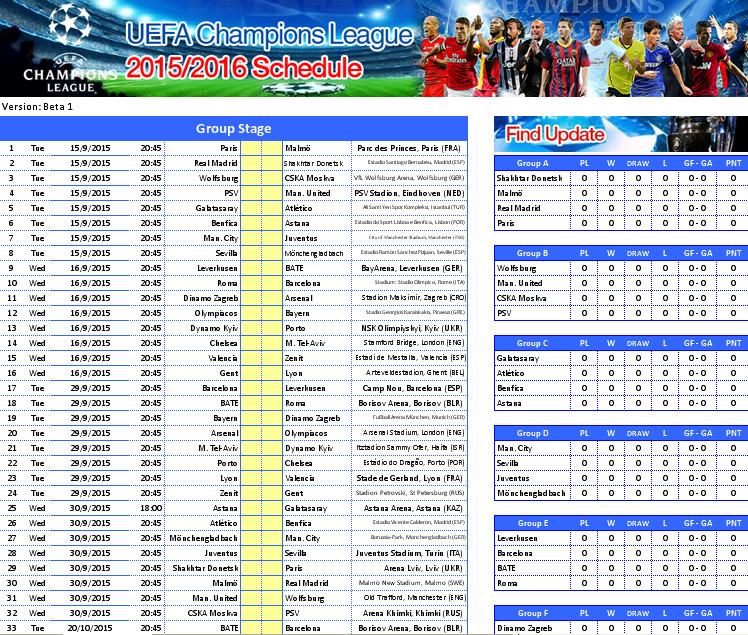 Uefa Champions League 2015 2016 Schedule File Excel