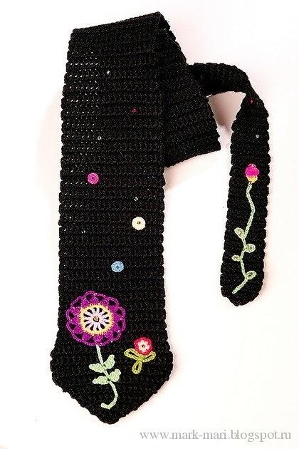 Corbata de Crochet Mujer Motivos Bordados