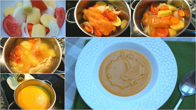 Crema de verduras con tomate y pollo.