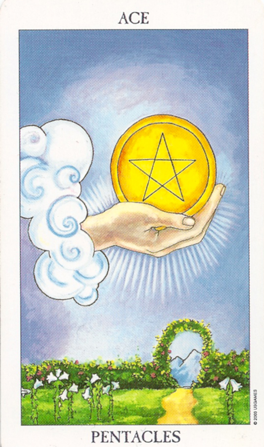 The Pentacles Suit Tarot Cards Meanings In Readings: Ace Of Pentacles. Manifestation.