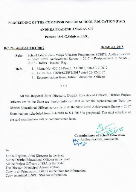 Rc No 426 postponement of SLAS Exam order copy
