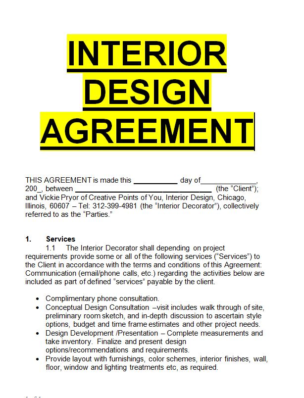 Interior design agreement template sample letters for free - Interior design letter of agreement ...