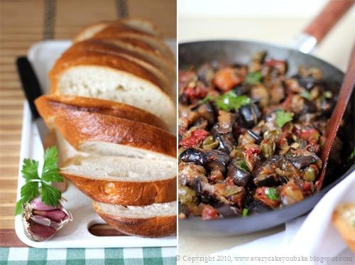 sycylijska caponata z bakłażanem, pomidorami i oliwkami