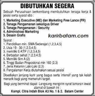 Lowongan Kerja Marketing Executive serta Administrasi Batam