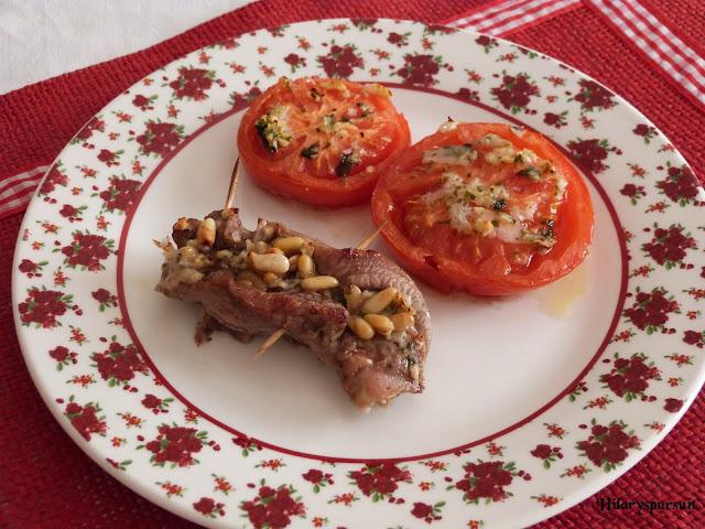 Escalopes de veau farcis et ses tomates confites