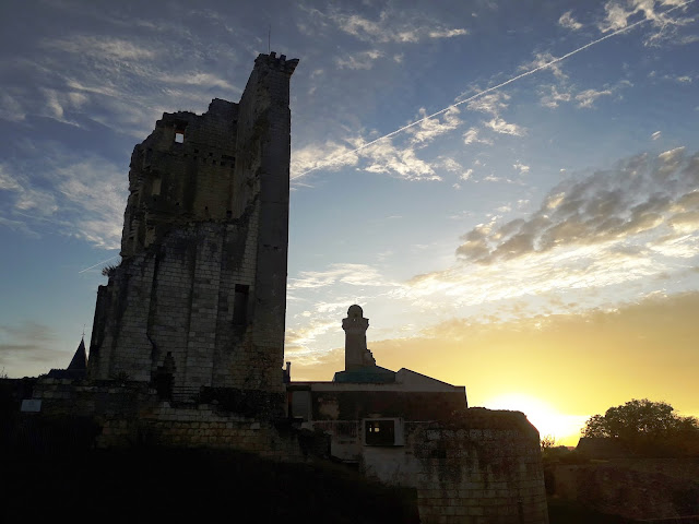 November setting sun behind the keep at Chateau du Grand-Pressigny