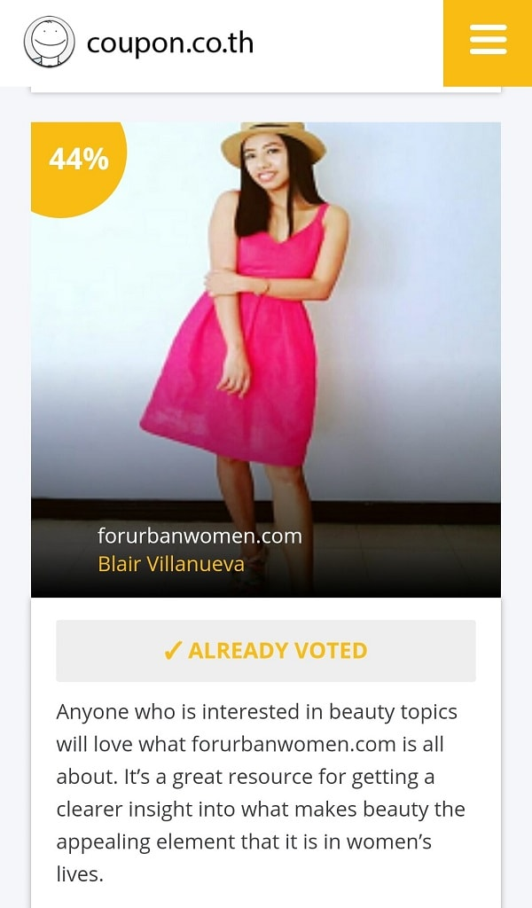 Asian Beauty Blog Award by Coupon Thailand