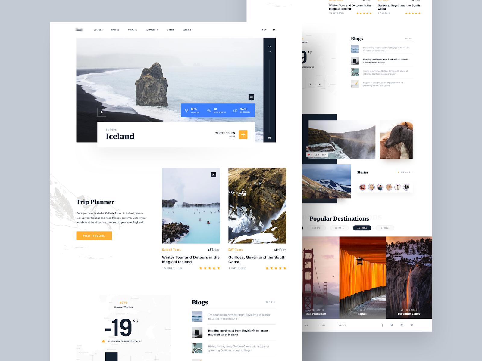 contoh desain web - travel blog