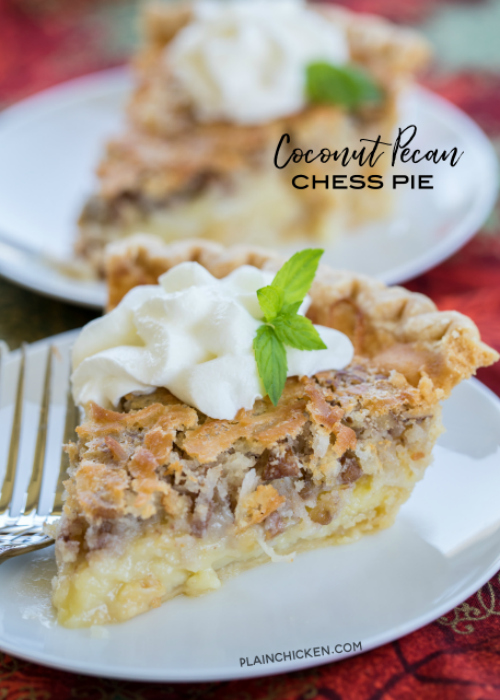Coconut Pecan Chess Pie from Plain Chicken