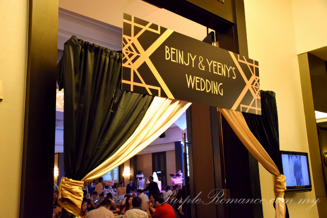 gatsby theme wedding, entrance arch, black, gold, hatten hotel melaka, backdrop, spotlight, decoration, decorator, elegant, 1920s