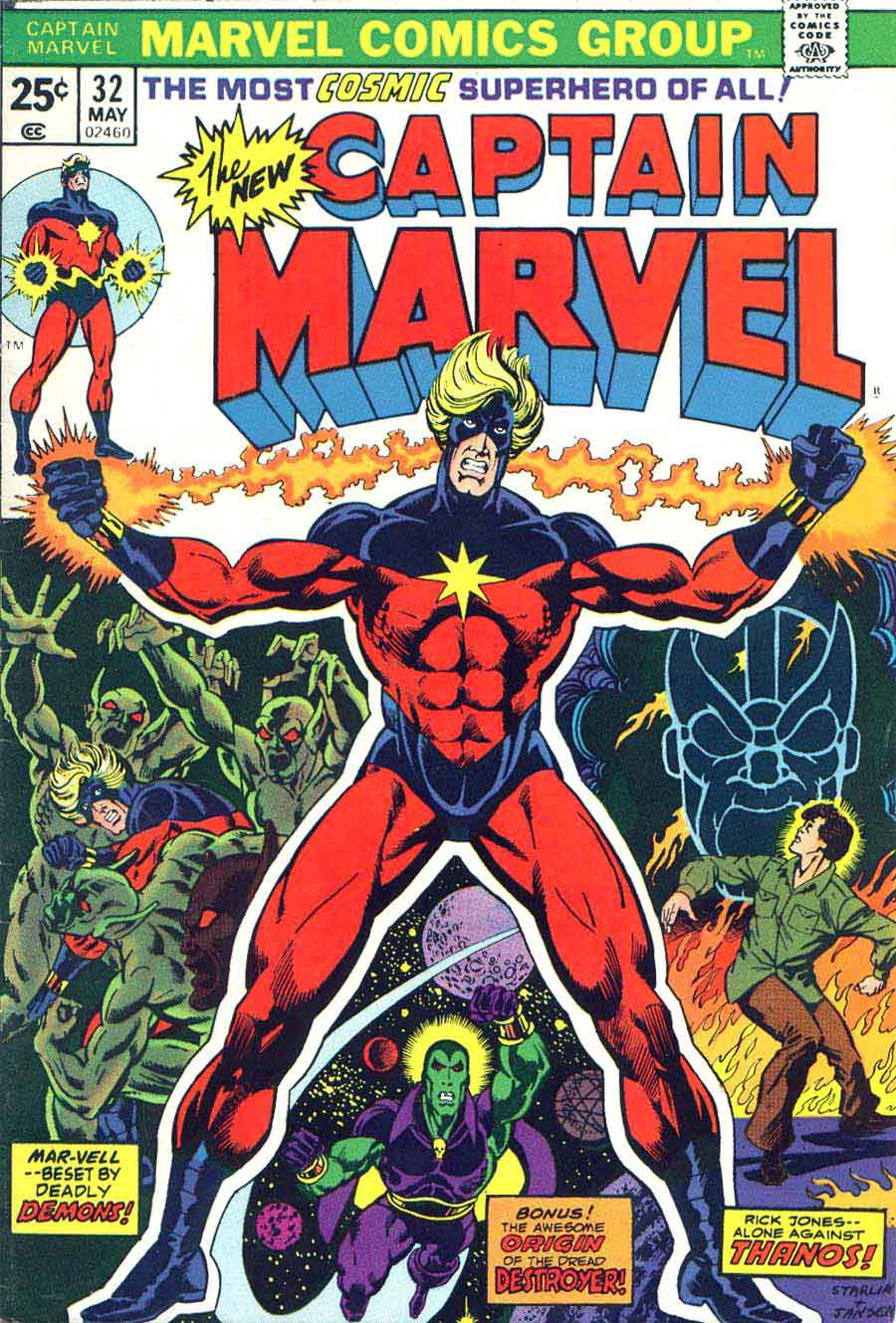 Captain Marvel #32 marvel 1970s bronze age comic book cover art by Jim Starlin