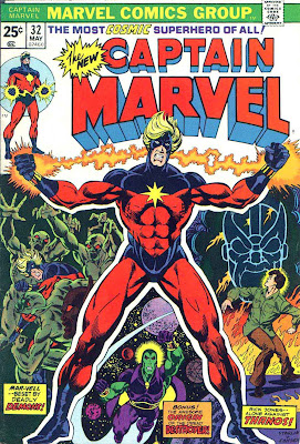 Captain Marvel #32 marvel 1970s bronze age comic book cover art by Jim Starlin