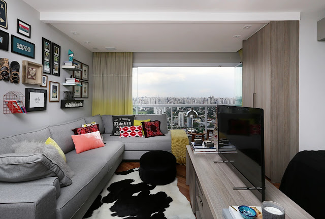 Incrível pequeno apartamento decorado Mandril Arquitetura. Blog Achados de Decoração