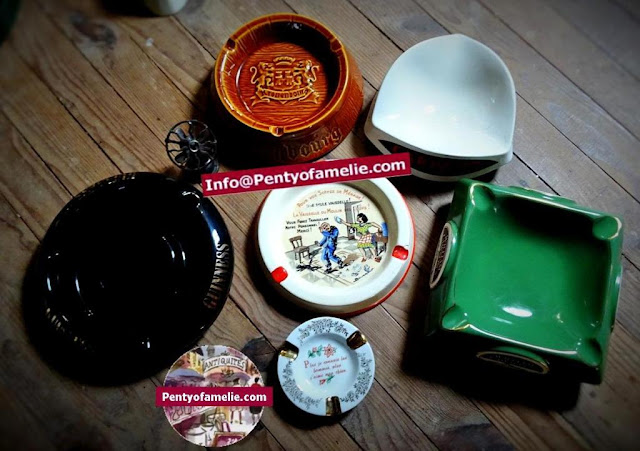nice French collectible rare Advertising ashtrays.Beer and whisky ads ashtray set
