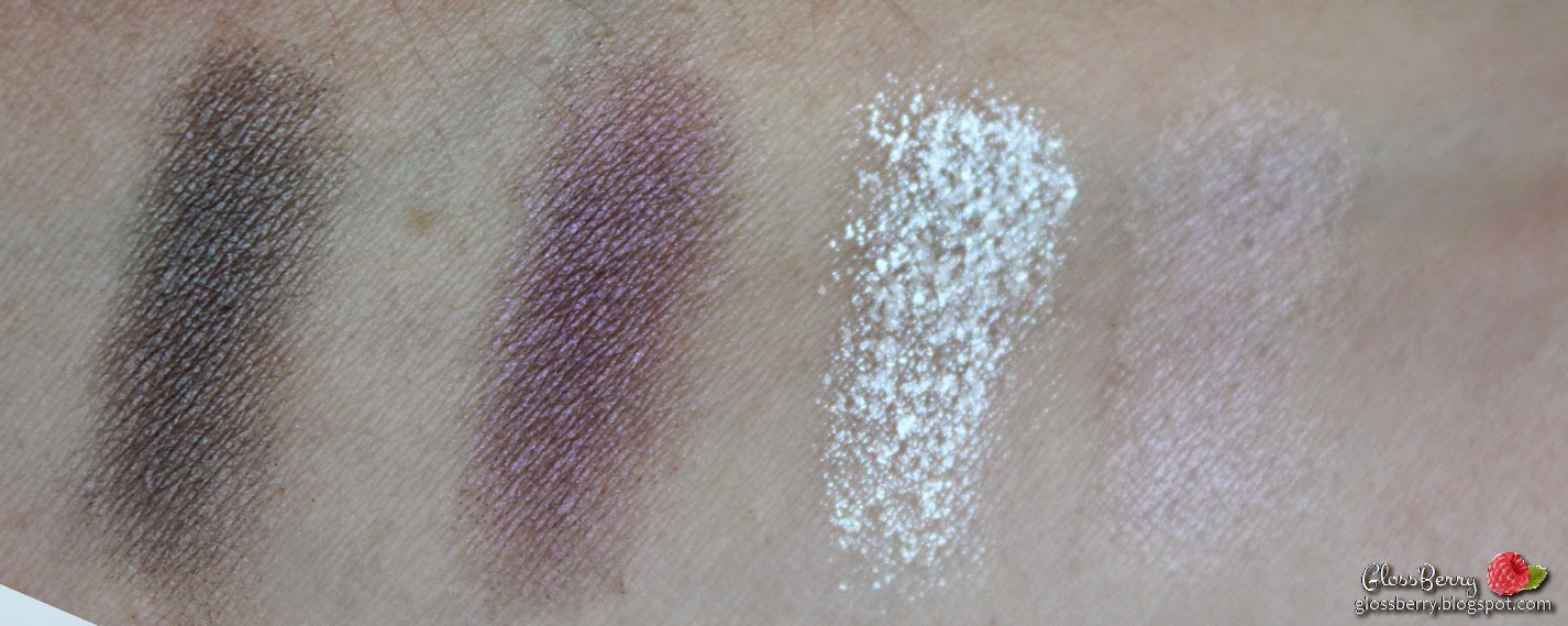 clarins ombre minerale 4 couleurs eye quartet mineral palette  vibrant light wet dry 12 purples   opulescence review swatch סקירה צלליות סגולות קלרינס בלוג איפור וטיפוח גלוסברי glossberry