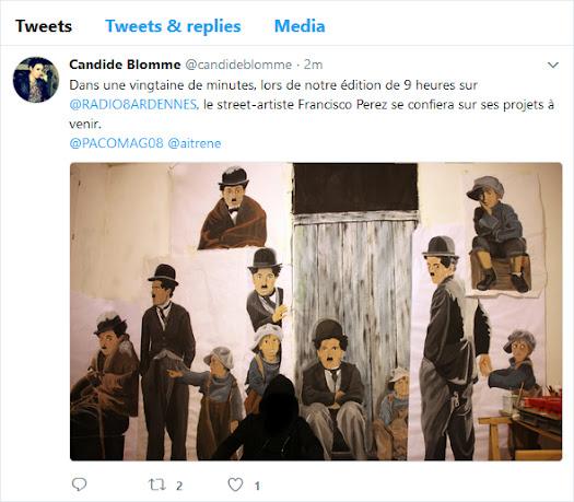 troisième tweet Candide journaliste radio 8 sur Paco street artiste sedanais