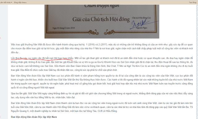 Vì sao buổi trao giải Văn Việt lần thứ 3 bị ngăn chặn?