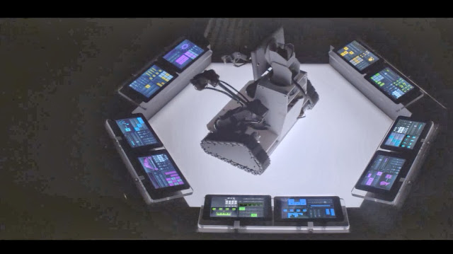 "Here's ""Wall-E"" with all the Intel Inside tablets controlling the music instruments"