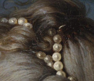 detail from an 18th century painting showing pearls used to accessorize hair