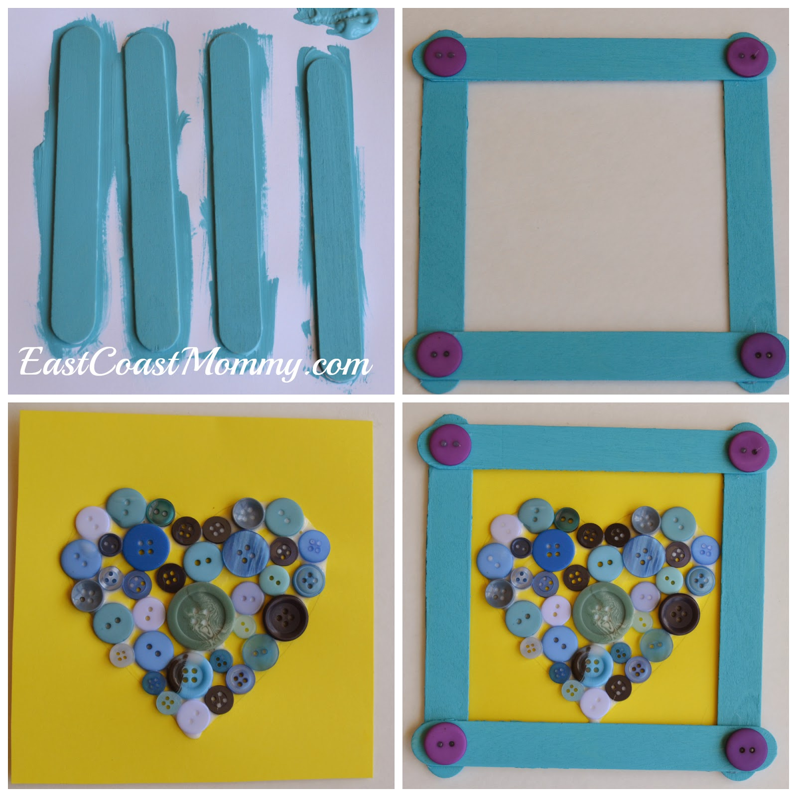 East coast mommy simple popsicle stick frame with a button heart simple popsicle stick frame with a button heart jeuxipadfo Gallery