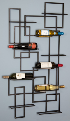 wine rack, wall-mounted, metal