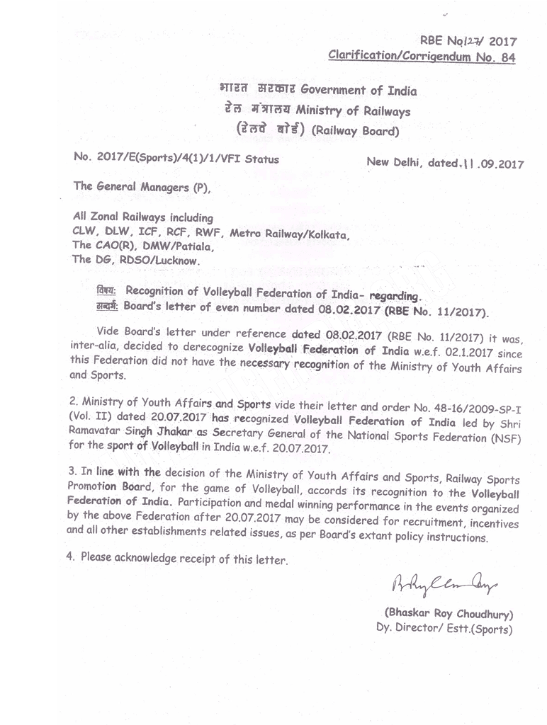 recognition of volleyball federation of india - railway board order 127-2017
