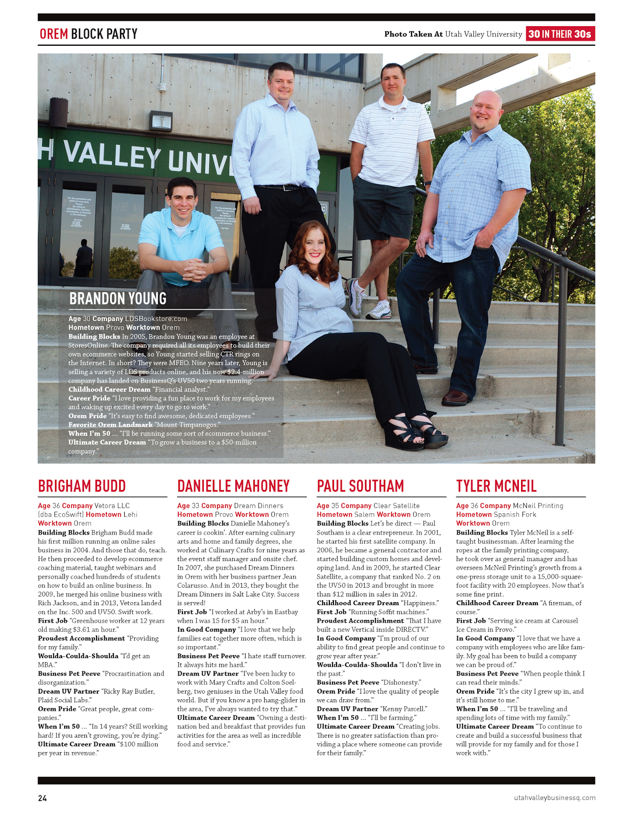Orem Business Owners from Utah Valley Magazine