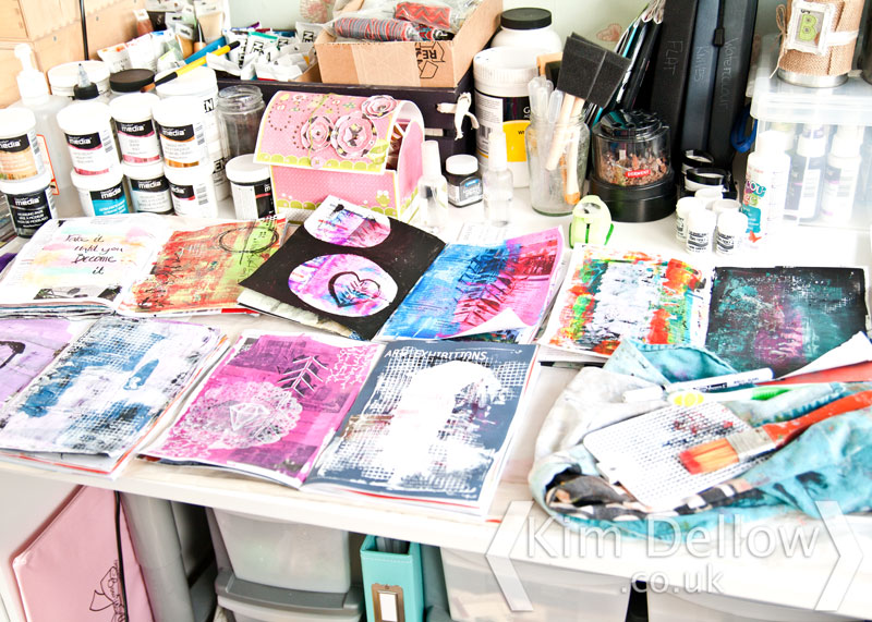 Lots of art journal pages being made at once