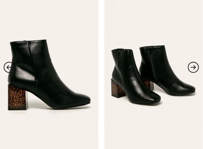 Botine femei moderne si elegante de iarna negre cu toc gros firma Truffle Collection