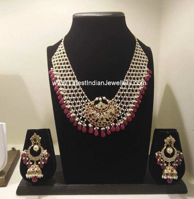 Pearls Broad Choker Jhumkas Set
