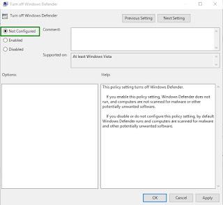 Cara mengaktifkan windows defender dari group policy