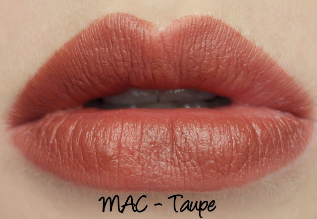 MAC Taupe lipstick swatches & review