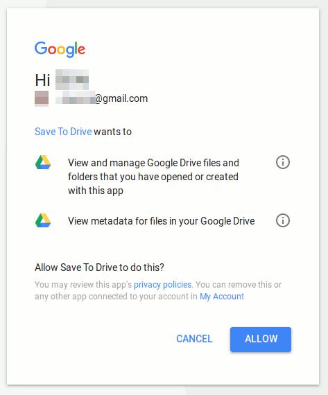 Jendela Google Drive yang meminta izin otentikasi savetodrive.net
