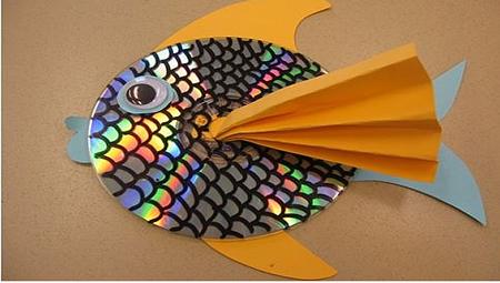 pez hecho con cd manualidades reciclaje