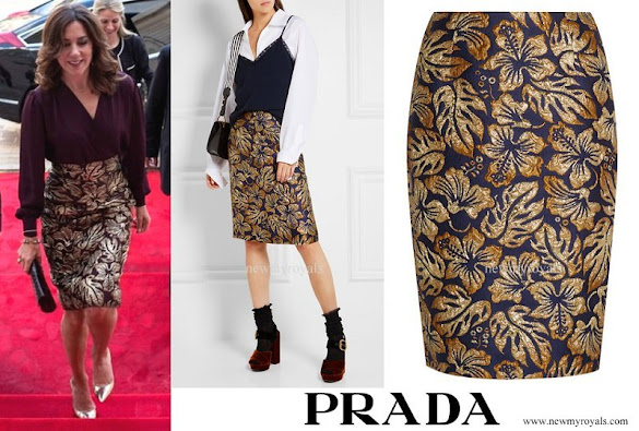 Crown Princess Mary wore Prada Metallic floral-jacquard skirt