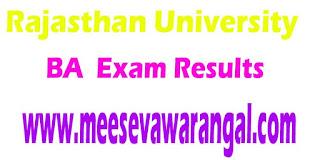 Rajasthan University BA Additional (Reval) 2016 Exam Results