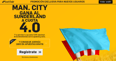 betfair Man. City gana Sunderland supercuota 4 Premier League 13 agosto