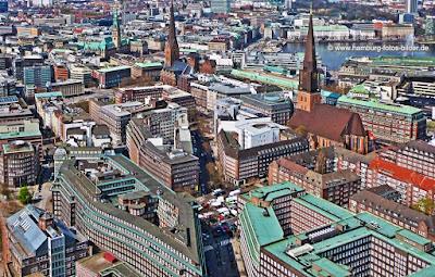Kontorhausviertel von oben, Weltkulturerbe Hamburg