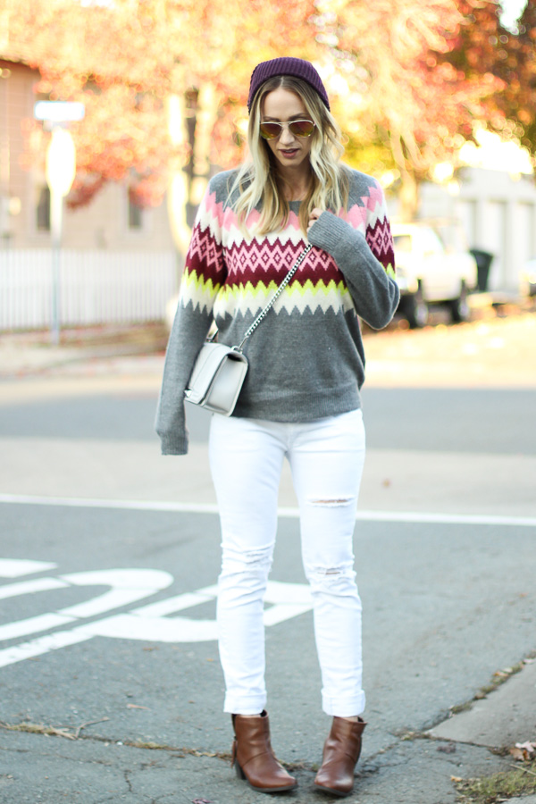 sweater with distressed jeans